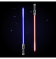 Two glowing swords on cosmic dark blue background vector image
