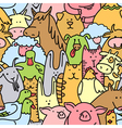 doodle farm animals seamless pattern vector image