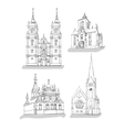 a set of sketches of churches vector image