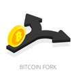 bitcoin fork isolated isometric arrow split with vector image