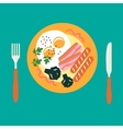 Breakfast with eggs sausage bacon broccoli vector image