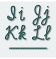Letters I J K L - handwritten alphabet of rope vector image