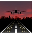 The plane is taking off at sunset and night city vector image