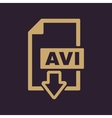 The AVI icon Video file format symbol Flat vector image