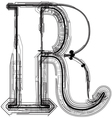 Technical typography Letter R vector image vector image