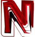 Artistic font letter N vector image