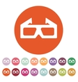 The 3d movie icon 3D Glasses symbol Flat vector image
