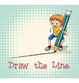 Boy drawing a line vector image