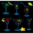 Neon Cocktail icon set vector image