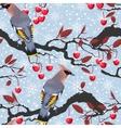 Birds and cherry tree seamless vector image