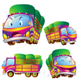 Cute truck cartoon actions vector image