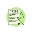 Hand holding tax form green icon vector image