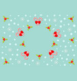 merry christmas holly berry icon candy cane stick vector image