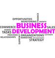 Word cloud business development vector image