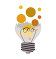 broken bulb with colorful bubbles vector image