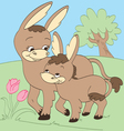 Donkey Mother and Child vector image vector image