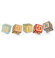 Word COLOR written with alphabet blocks vector image