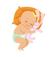 adorable little baby in a diaper sleeping and vector image