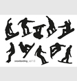Black silhouettes of snowboarders on a white vector image