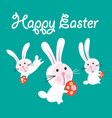 easter greeting card with funny hares vector image