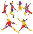 isolated colorful silhouettes of kids jumping vector image