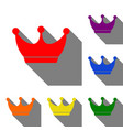 king crown sign set of red orange yellow green vector image