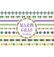 Mardi Gras borders set Cute beads fleur de lis vector image