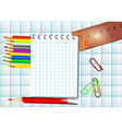 Mathematics background with notepad vector image