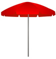 red beach umbrella on white background vector image