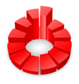 red circular diagram with columns isolated on vector image