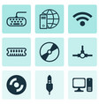 set of 9 computer hardware icons includes dynamic vector image