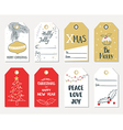 Set of hand draw Christmas gift tags vector image