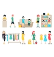 shopping and shipping flat icons set Mall vector image