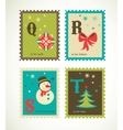 Christmas alphabet with cute xmas icons vector image vector image