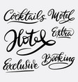 hotel and exclusive hand written typography vector image
