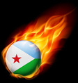Round glossy icon of djibouti vector image