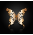 Copper abstract butterfly on black background vector image