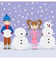 Children and snowmen vector image
