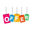 colorful hanging cardboard Tags - offer vector image