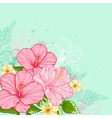 Hand drawn tropical flowers vector image
