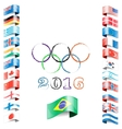 olympic flags rings rio vector image