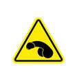 penis warning feminist sign yellow member hazard vector image