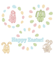 Set of easter symbols - easter eggs and bunnies vector image