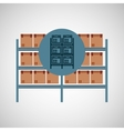 warehouse boxes on racks icon vector image