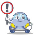with sign cute car character cartoon vector image