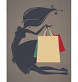 girl and shopping bags vector image