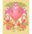 kimono embroidery elements with a heart symbol vector image