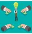 Crowdfunding flat isometric concept vector image vector image