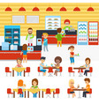 cafeteria people in canteen people eating vector image