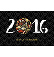 Chinese New Year 2016 card icon set gold vector image